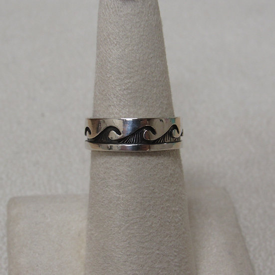 Sterling Silver Navajo Band Water Symbol Ring Size 7