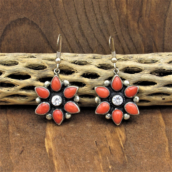 Don Lucas 2012 Coral Cluster and CZ Dangle Wire Earrings