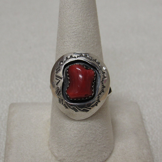 Navajo Sterling Silver and Coral Shadow Box Ring By Teddy Goodluck