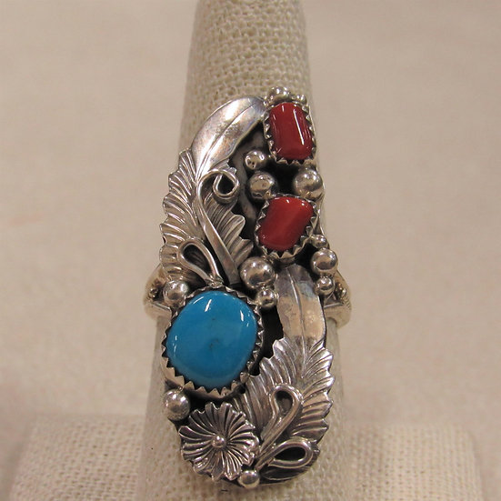Rita Montoya Sterling Silver, Coral and Turquoise Ladies Ring