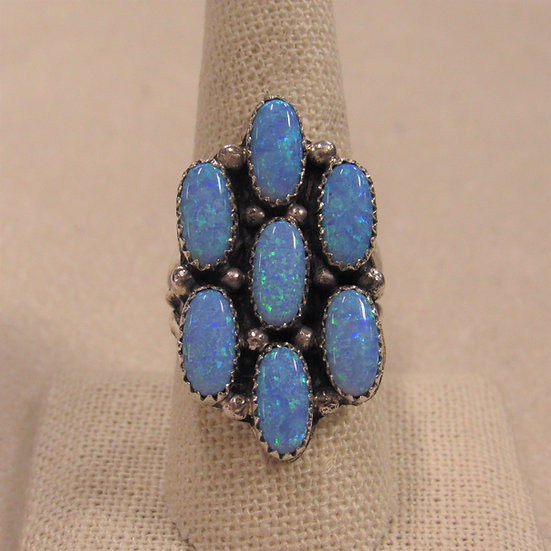Roberta Begay Sterling Silver Lab Opal Ring