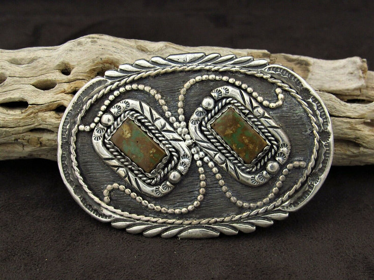 Southwestern Green Turquoise Sterling Silver Belt Buckle