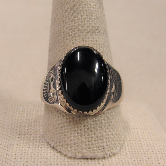 Sterling Silver and Black Onyx Men's Southwest Ring