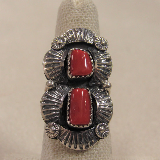 Stunning Coral and Sterling Silver Ring by Navajo H Etsitty