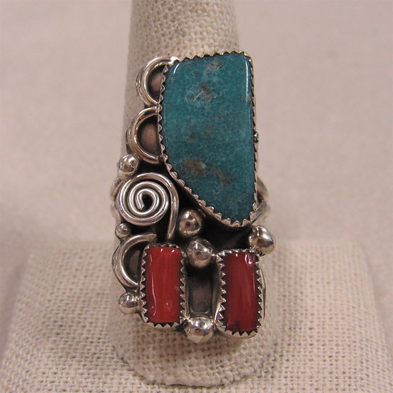 Sterling Silver Turquoise and Coral Southwest Ring