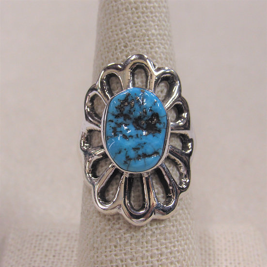 Southwest Sterling Silver and Turquoise Sand Cast Ring Size 7.75