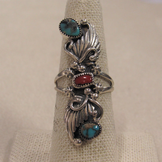 Sterling Silver Turquoise and Coral Long Ornate Ring