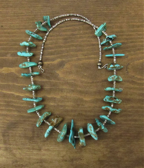 Southwest Turquoise Slab and Olive Shell Heshi Necklace