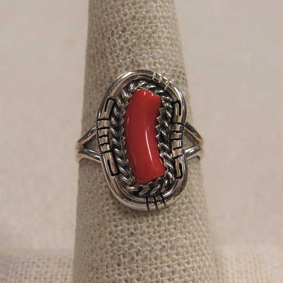 Southwest Sterling Silver and Coral Ladies Ring by D Skeets