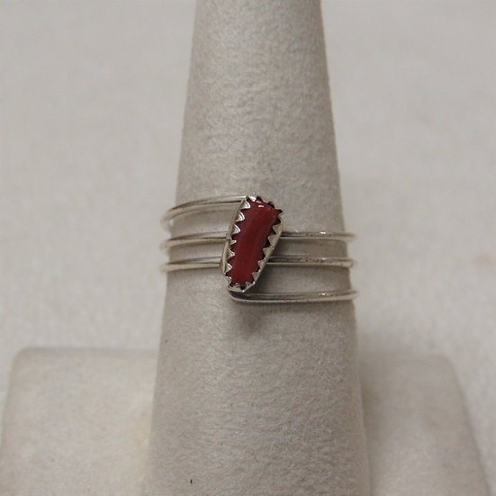 Southwest  Sterling Silver and Coral Ladies Ring Size 8 1/2