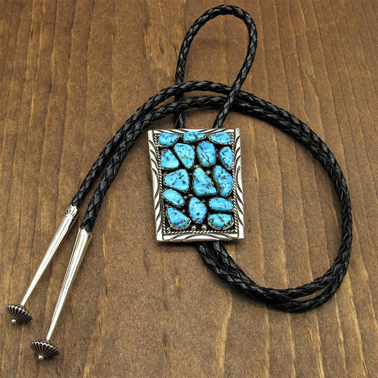 Vintage Sterling Silver and 15 Turquoise Stones Bolo Tie