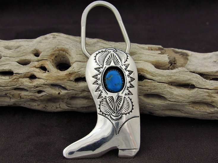 Southwestern Sterling Silver Turquoise Stamped Boot Key Chain