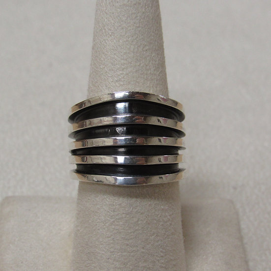 Wide Five Row Sterling Silver Size 8 1/4 Ring