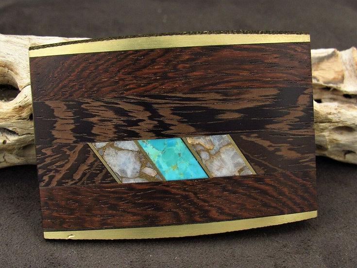 Southwestern Brass Faux Turquoise Wooden Belt Buckle