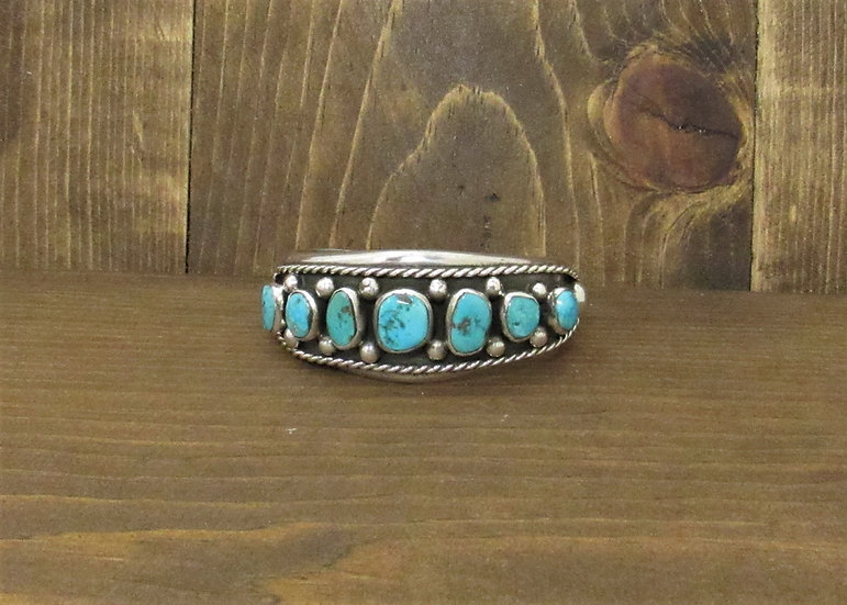 Sterling Silver with Seven Turquoise Stones Southwest Cuff Bracelet