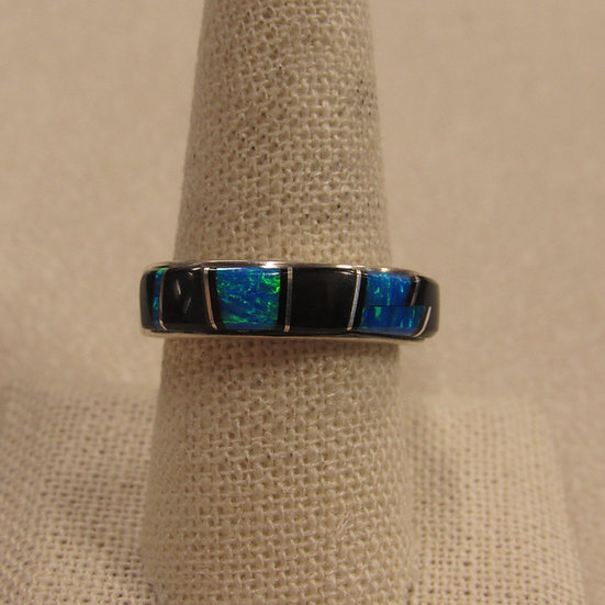 Southwest Sterling Silver Band with Inlay Jet and Lab Opal Size 9