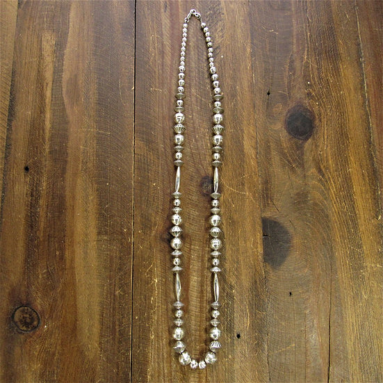 Southwest Sterling Silver Bead 30 Inch Necklace
