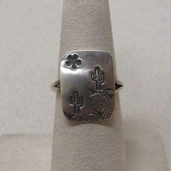 Saguaro and Sun Sterling Silver Ring Size 6 3/4