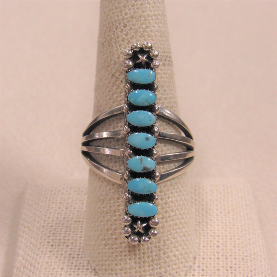 Southwest Sterling Silver and 7 Vertical Stones Long Ring