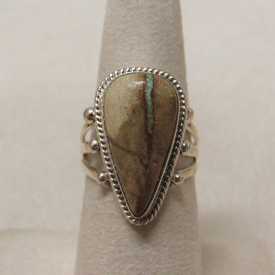 Southwest Sterling Silver Boulder Turquoise Ring Size 7