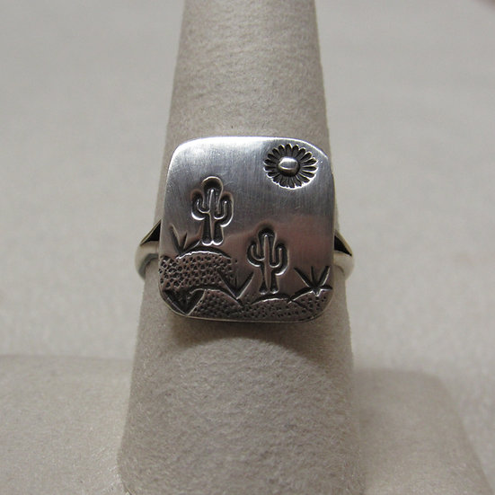 Saguaro and Sun Sterling Silver Ring Size 8 3/4