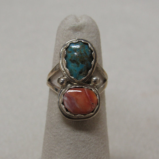 Navajo Sterling Silver, Spiny Oyster Shell and Turquoise Ring Size 7