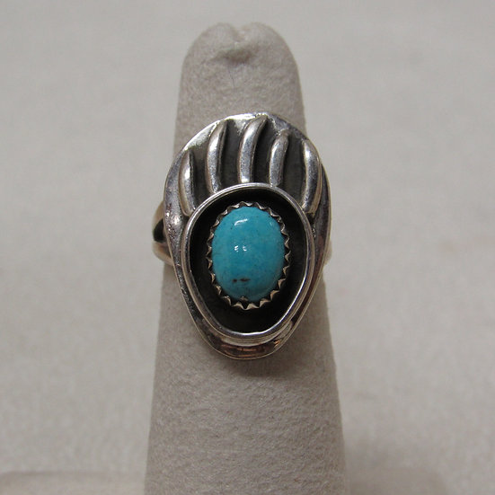 Sterling Silver and Turquoise Bear Paw Ring by Lenora Begay