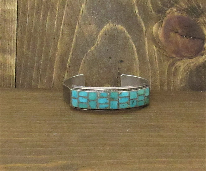 Vintage Sterling Silver and Inlaid Turquoise Cuff Bracelet