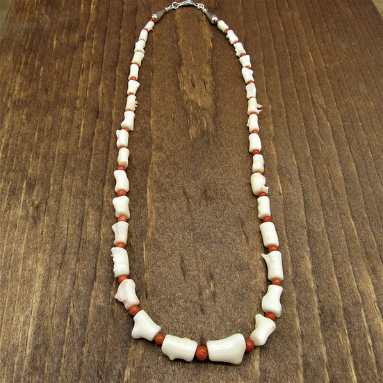 Chunks of Angel Coral and Red Coral Beads Necklace