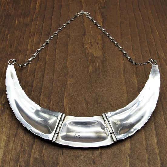 Vintage Southwest Sterling Silver Ornate Hinged Collar Necklace