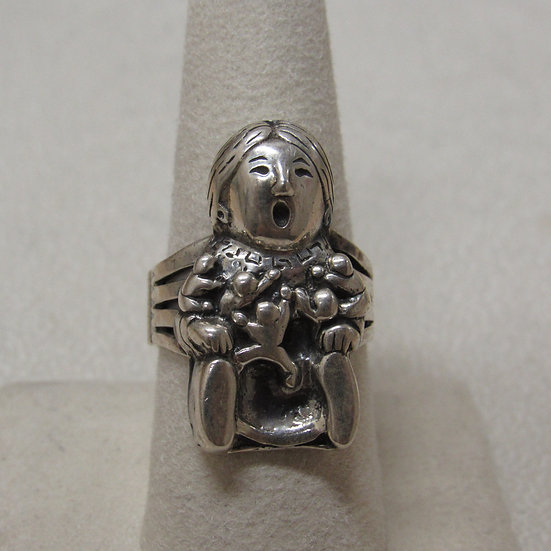 Sterling Silver Southwest Story Teller Ring Size 8 1/2