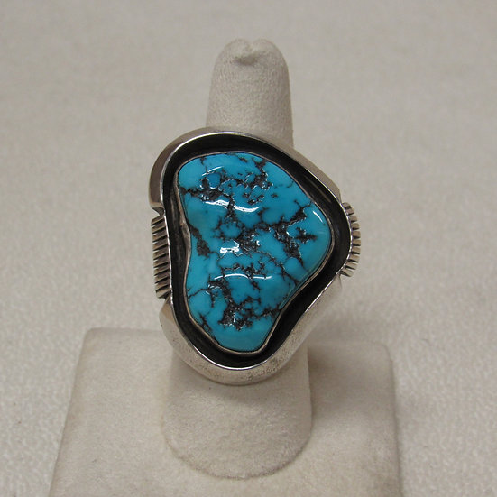 Southwest Sterling Silver and Turquoise Nugget Statement Ring Size 8 1/2