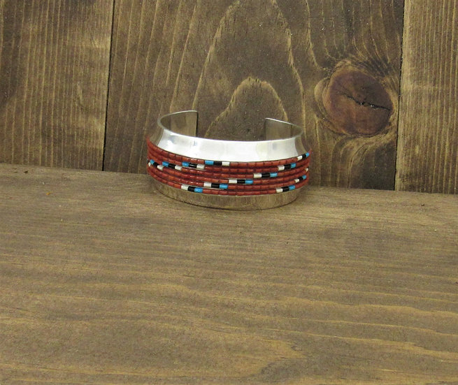 Southwest Sterling Silver and Coral Heshi Inlay Cuff Bracelet