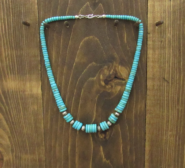 Southwestern Tapered Turquoise Disc Bead Necklace