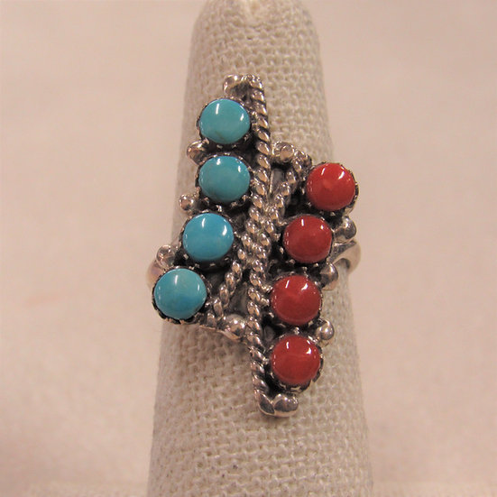 Sterling Silver, Coral and Turquoise Ring by Zuni E. Wyaco