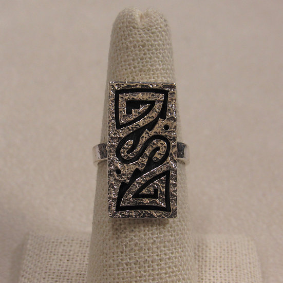 Southwest Sterling Silver Hopi Overlay Ring With a Hammered Look
