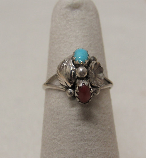 Dainty Southwest Sterling Silver, Turquoise and Coral Ring