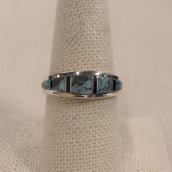 Matrix Turquoise, Jet and Sterling Silver Inlaid Band Ring Size 8.75