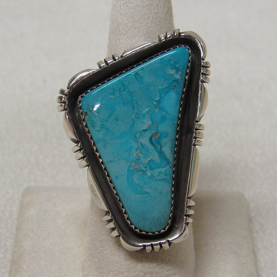 Southwest Sterling Silver and Turquoise Statement Ring Size 8 1/2