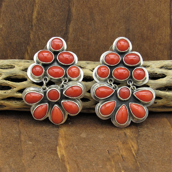 Striking Vintage Sterling Silver and Coral Post Earrings by Roie Jaque