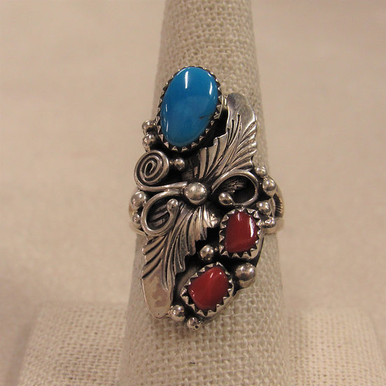 Southwest Sterling Silver, Coral and Turquoise Ladies Ring