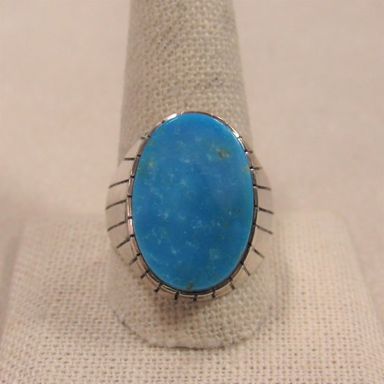 Men's Sterling Silver and Turquoise Southwest Ring