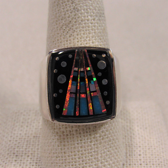 Intricate Sterling Silver Inlay Southwest Tsosie TSF Size 10