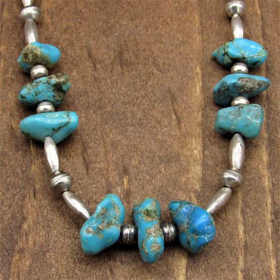 Vintage Sterling Silver Beads and Turquoise Nuggets Necklace