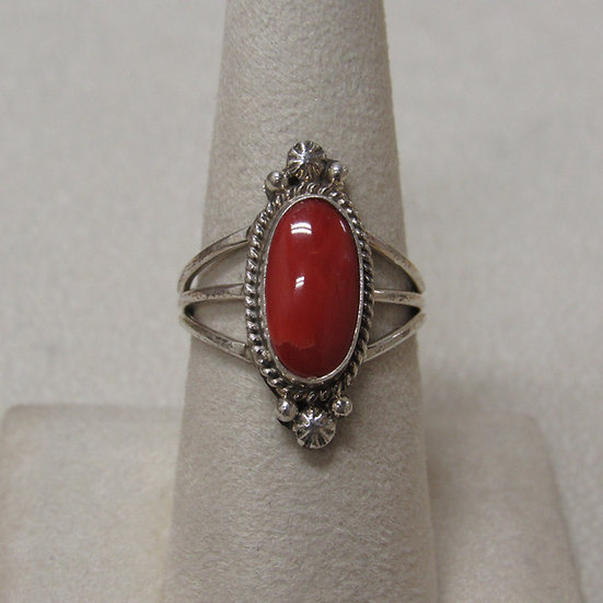Sterling Silver and Coral Southwest Ring Size 8 1/4