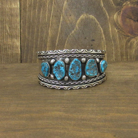Southwest Sterling Silver and 5 Turquoise Nuggets Cuff Bracelet