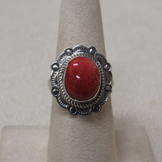 Southwest Sterling Silver and Spiny Oyster Shell Ring Size 6