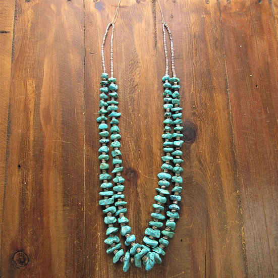 Vintage 2 Strand  Turquoise Chunks and Tapered Olive Shell Heshi Necklace