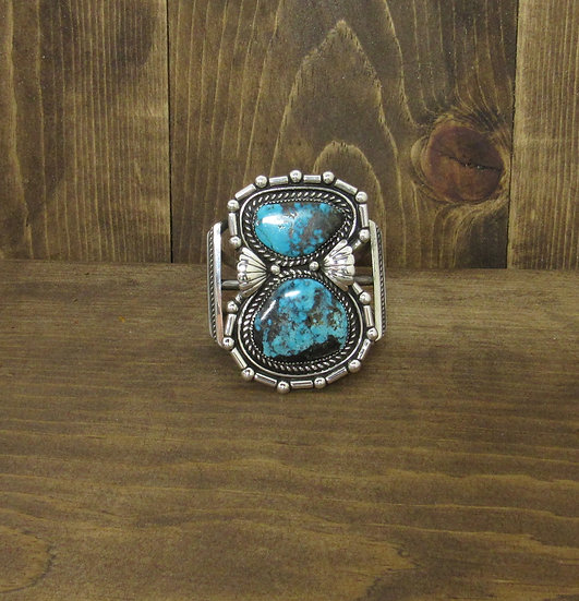 Southwest Sterling Silver and Two Large  Turquoise Stones Cuff Bracelet