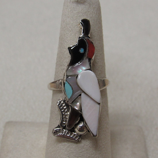 Southwest Sterling Silver Gamble Quail Inlaid Ring Size 7